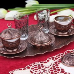 Turkish Coffee Set For Two Person With Glasses Copper