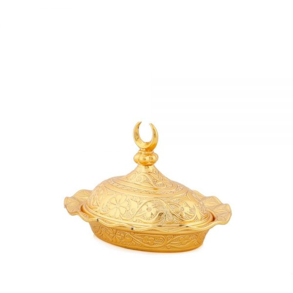 Small Gold Plated  Decorative Metal Sugar and Delight  Bowl