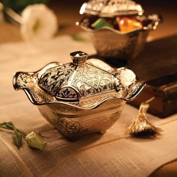 Silver Decorative  Sugar And Snack Bowl With Lid
