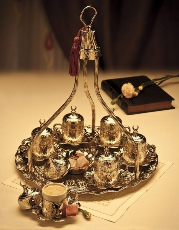 Vintage Silver Turkish  Coffee For Six People With High Tray
