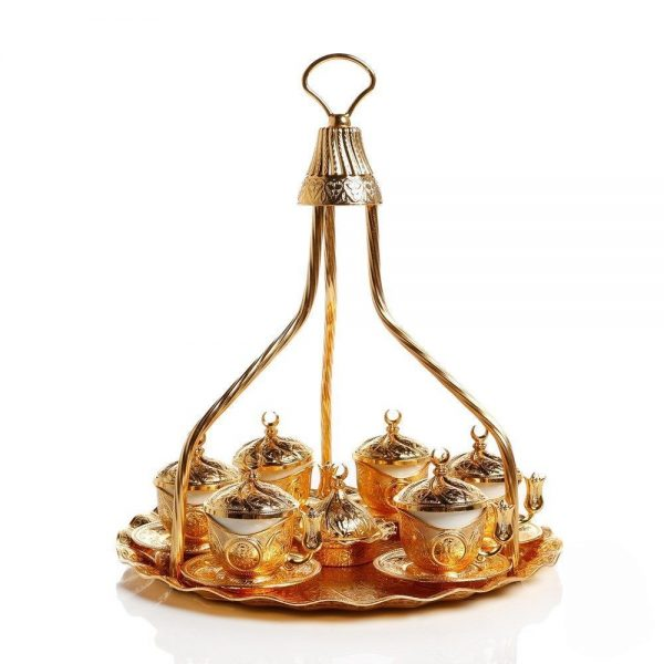 Golden Colour  Turkish  Coffee Set For Six People With High Tray