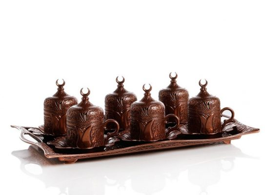 Copper  Turkish  Coffee Set For Six People With High Tray