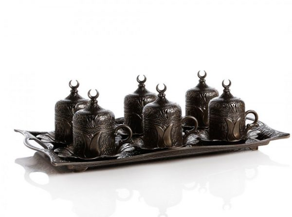 Antique Style Turkish  Coffee Set For Six People With Tray