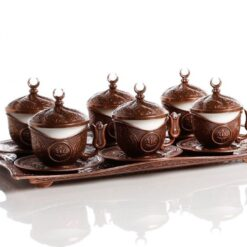 Copper Turkish  Coffee Cup Set  People With Tray