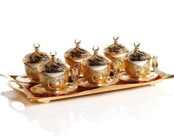 Gold Colour Turkish  Coffee Cup Set  With Tray