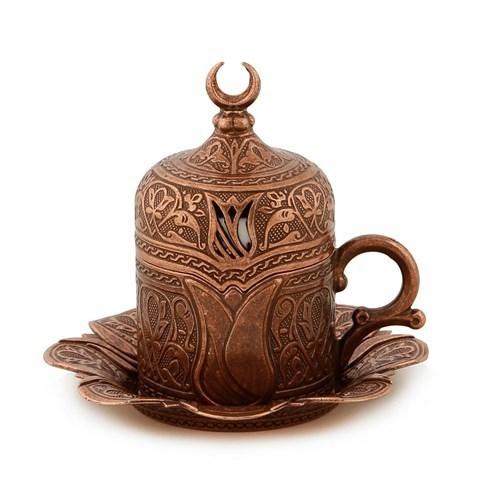 6 X Copper  Turkish Coffee Cup  Set Tulip Design