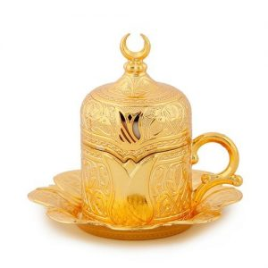 Gold Colour  Turkish Coffee Cup Tulip Design
