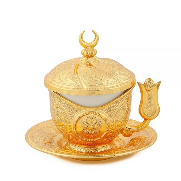 Gold Colour  Turkish Coffee Cup Tulip Holder Design