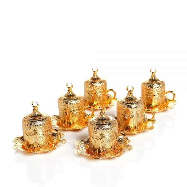 Gold Colour Turkish Coffee Cups Tulip Design Six Pieces
