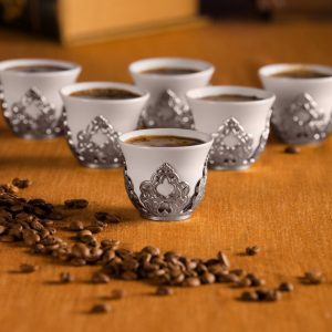 Silver Colour Arabic Coffee-Mirra Cups Six Pieces