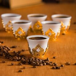 Golden Colour Turkish Coffee-Mırra Cups Six Pieces