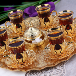 Turkish Tea Serving Set For Six People With Tray