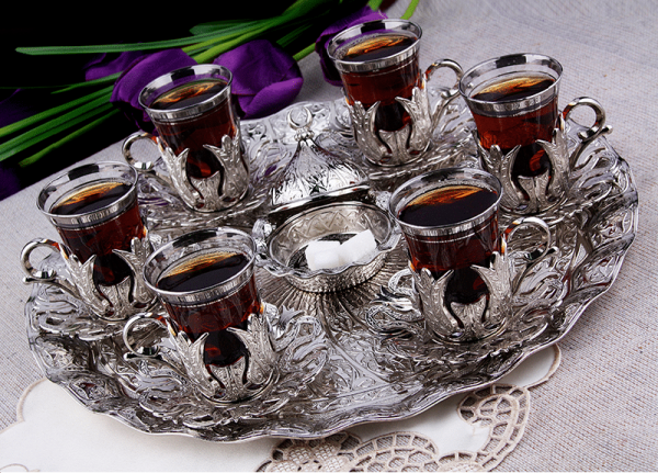 Brass Tea Set For Six People With Tray