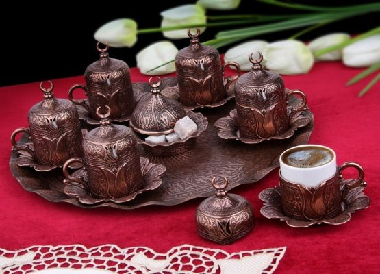 Copper Turkish Coffee Cups Set For Six Person