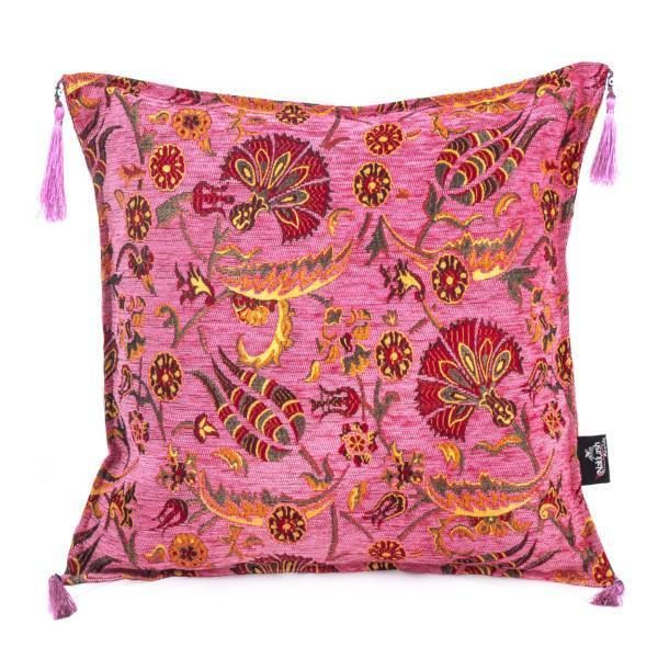 Pink Handmade Turkish Kilim Pillow Case Tulip Design