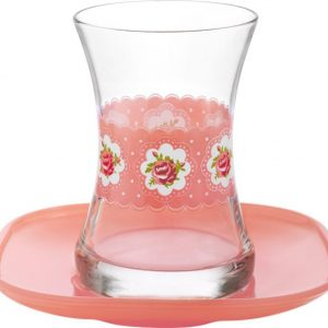 Turkish Tea Glasses Set Cup Cake Design  With Saucers