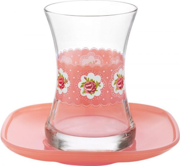 Turkish Tea Glasses Set Cup Cake Design  With Saucers