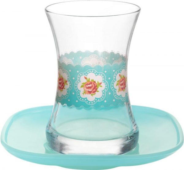 Turkish Tea Cups Roses Blue Design With Saucers