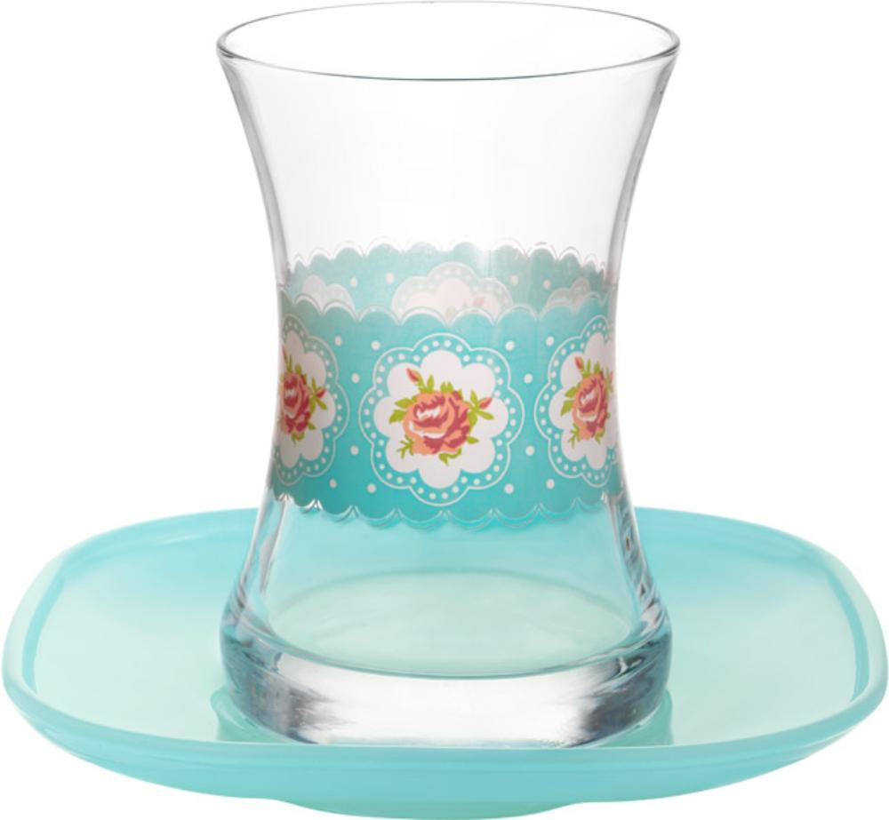 Turkish Tea Cups Roses Blue Design With Saucers Fairturk Com