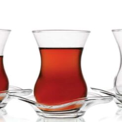 Turkish Tea Glasses Set Classic  Design  With Saucers