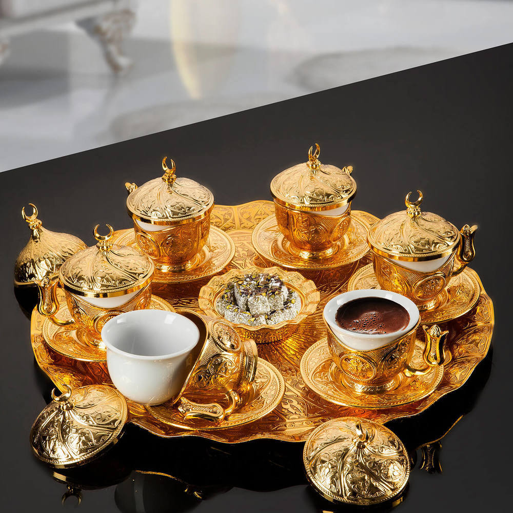 Gold Plated Turkish Coffee Set For Six Person - FairTurk.com