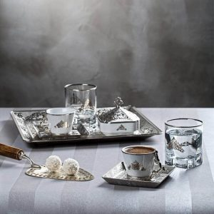 Silver  Espresso Turkish Coffee Set For Two With Glasses