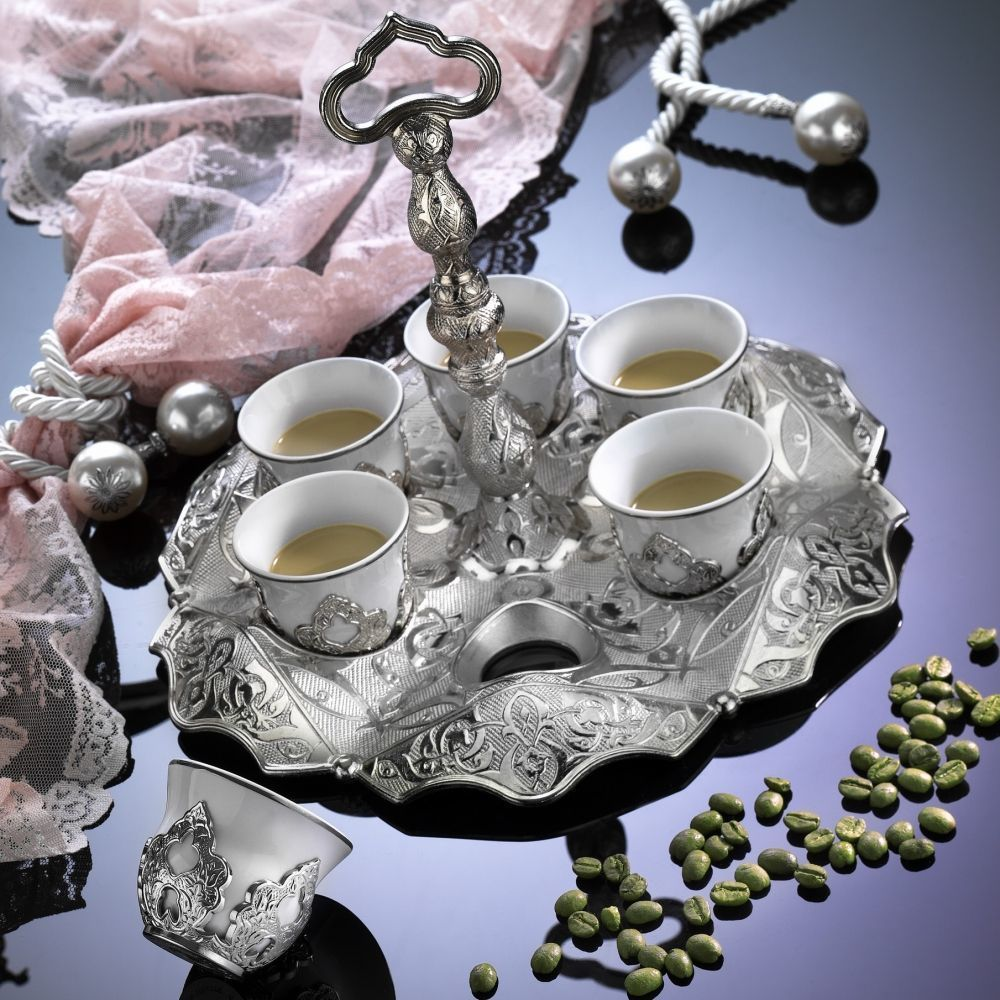 Silver Ottoman Turkish Coffee Set Mırra,Greek,Arabic ...
