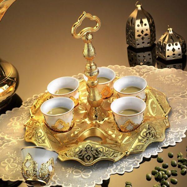 Gold Color Ottoman Turkish Coffee Set Mırra,Greek,Arabic Coffee Serving Cups Set