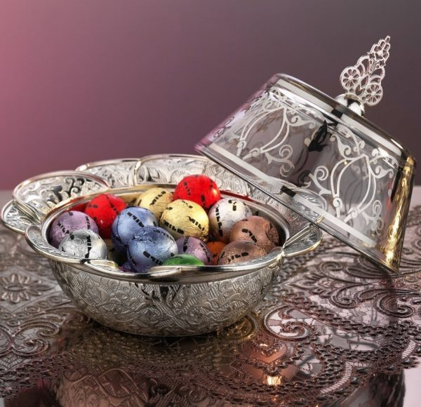 Silver Plated Authentic Snack Serving Bowl With Glass Lid