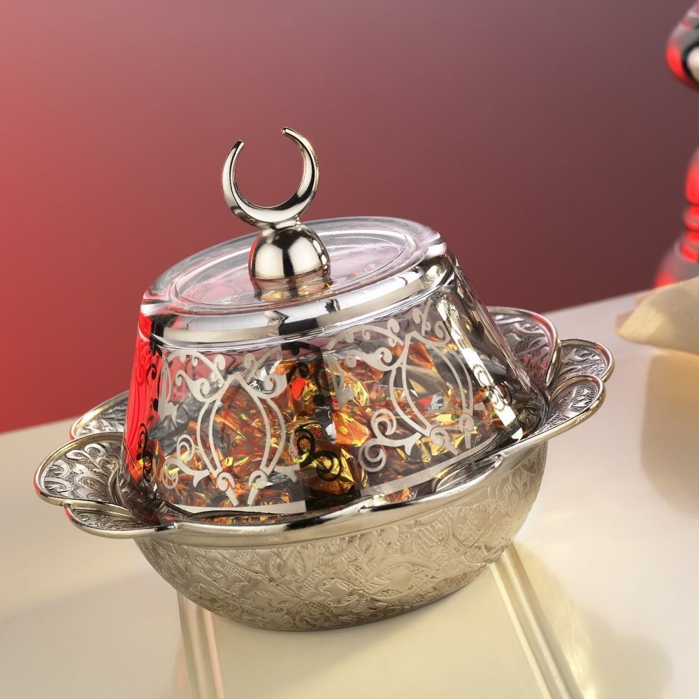 Silver Plated Ottoman Style Snack Bowl With Glass Lid Fairturk Com