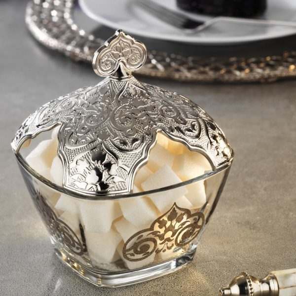 Silver Plated Turkish Tea Set For Six With Sugar Bowl