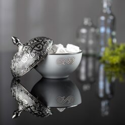 Silver Plated Round Porcelain Sugar Bowl