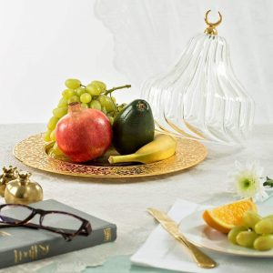 Gold Colour Large Glass Fruit Bowl