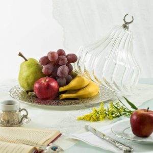 Silver Colour Large Glass Fruit Bowl