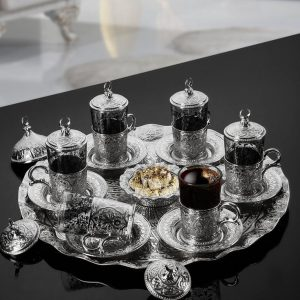 Oriental Tea Set For Six People With Tray
