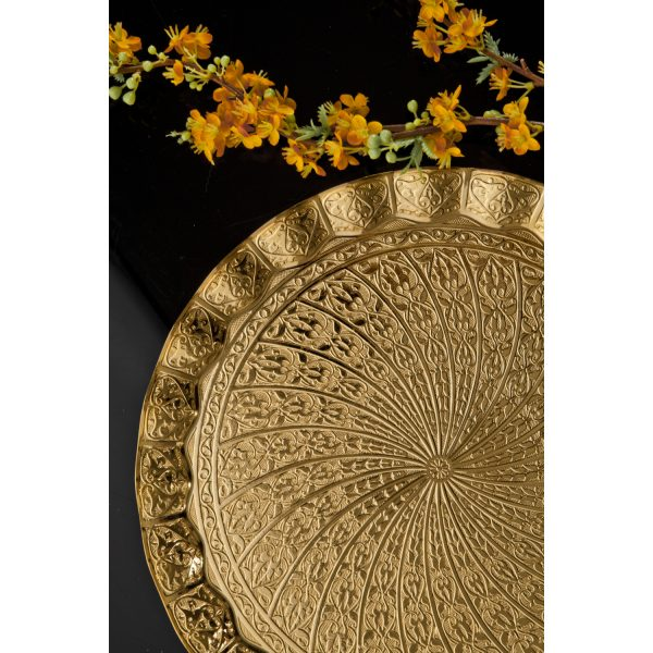 Gold Plated Ottoman Serving Tray  35 cm