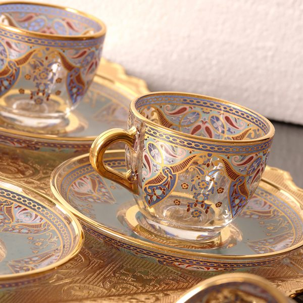 Arabic-Turkish-Espresso Cups Set For Six Person Metal With Tray