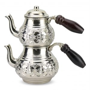 Silver Plated Handmade Copper Turkish Tea Pot Set