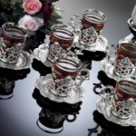 silver turkish tea set
