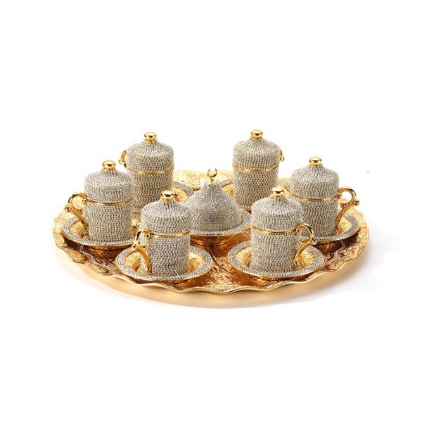 Gold Color Crystal Stone Coated Handmade Tea Set For Six With Tray