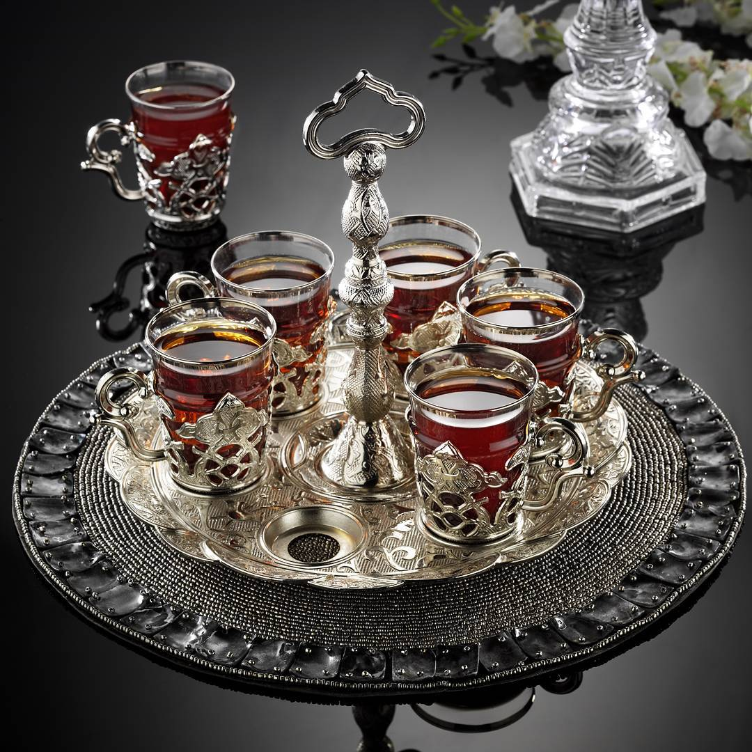 Silver Latest Model Turkish Tea Cups Set With Hanger