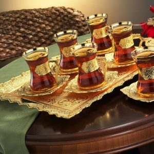 Gold Colour Turkish Tea Set Thin Waist Plain Model
