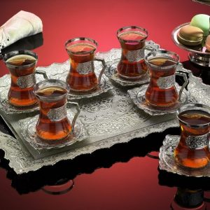 Silver Plated Turkish Tea Set For Six With Tray Plain Model