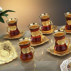 Gold Colour Plated Arabic Tea Set Plain Model