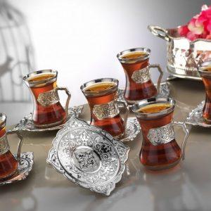 Silver Plated  Arabic Tea Set Plain Model