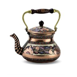 Large Single Handmade Painted Copper Tea Pot