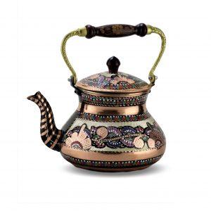 Large Single Handmade Painted Copper Tea Pot
