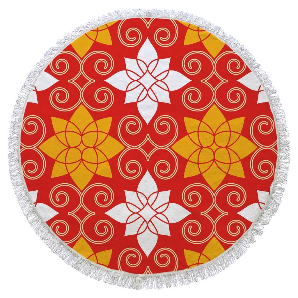 Orange Turkish Round Beach Towel Digital Printed