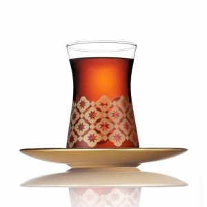 Thin Waist Turkish Tea Glasses Set  With Gold Colour Saucers