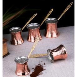 Copper Turkish Coffee Pots Set For Five Pcs